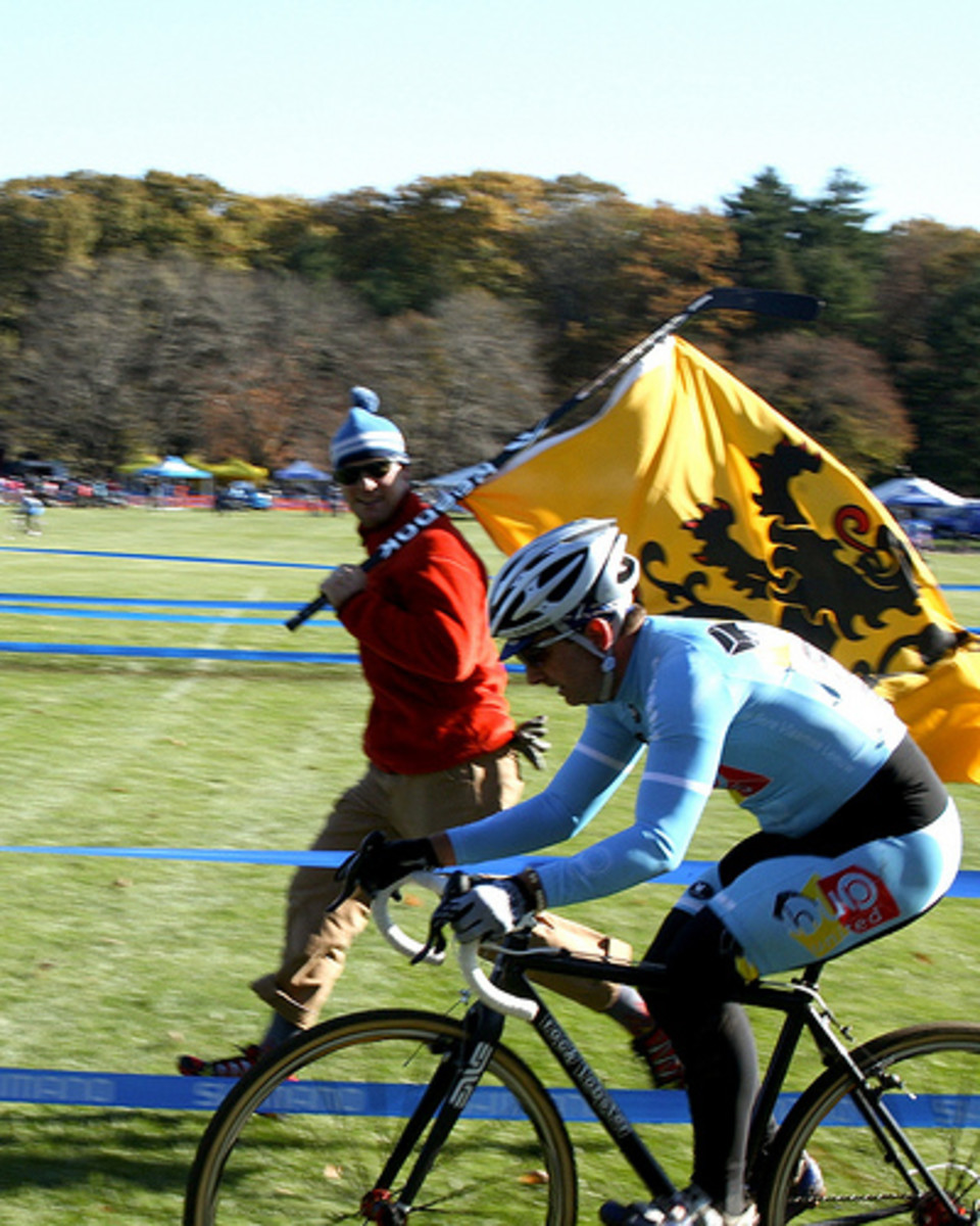 Cyclocross Racing- Belgian style with the Lion of Flanders in the background