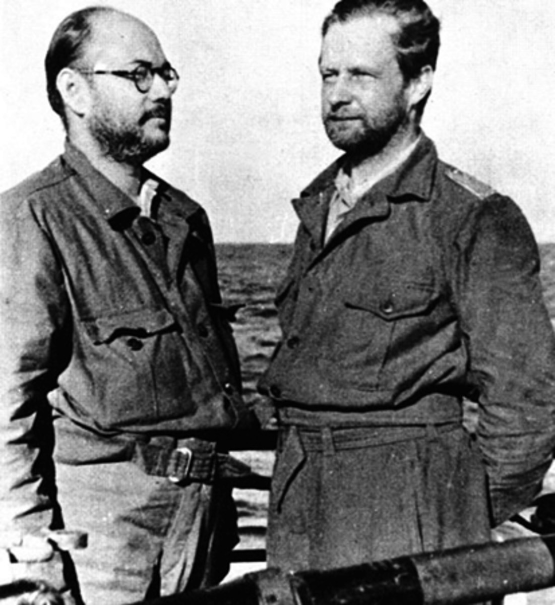 Subhash Chandra Bose and Captain Werner Musenberg on the deck of U-180 submarine