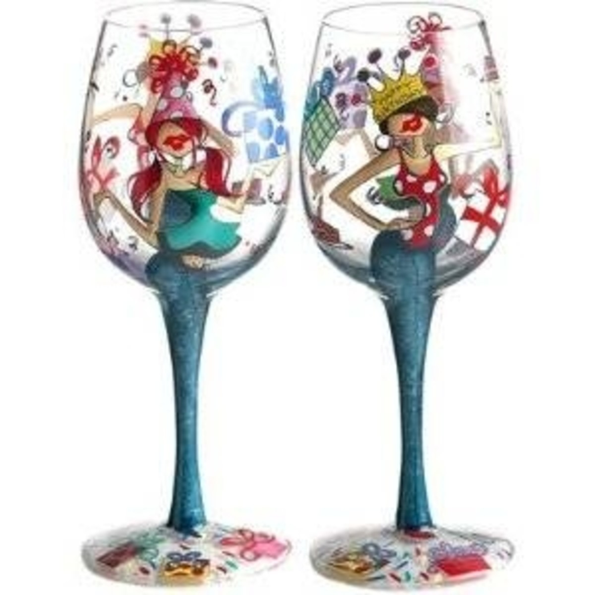 happy birthday handpainted decorative wine glasses