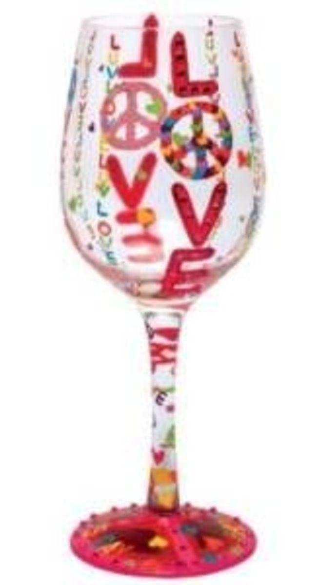 Valentine's Day decorative wine glasses