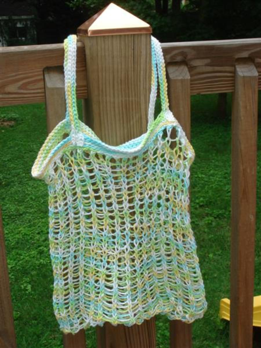 Beach Bag Pattern for the Knifty Knitter Long, Blue Loom