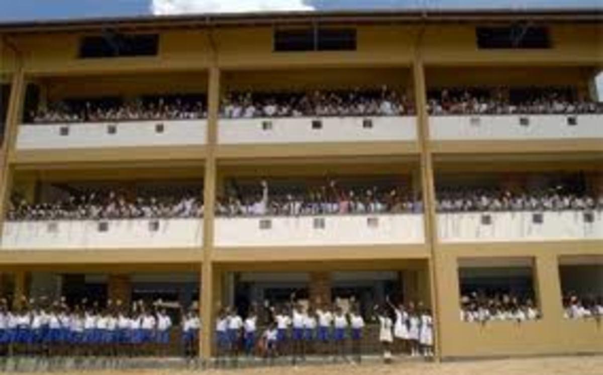 School children enjoying their new school building!