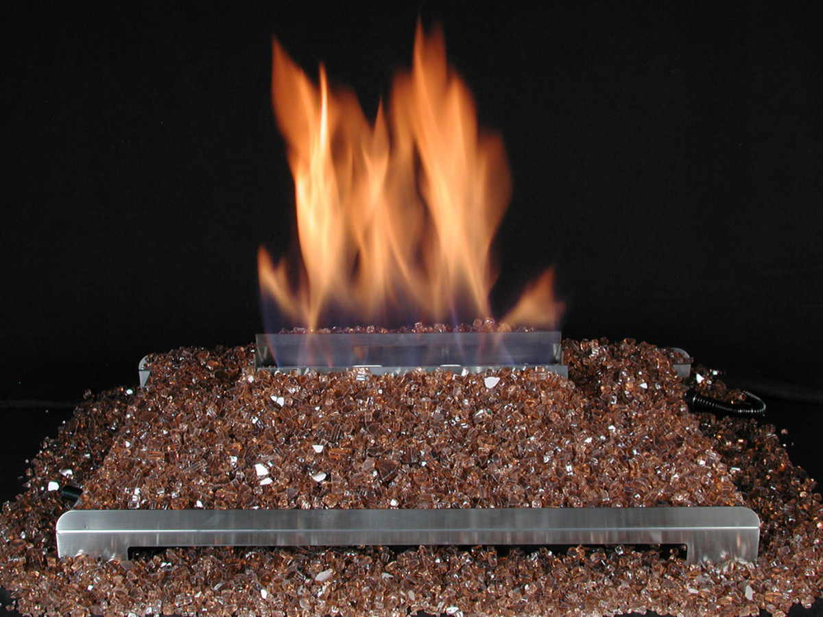 Vent-free gas fireplace fire glass.