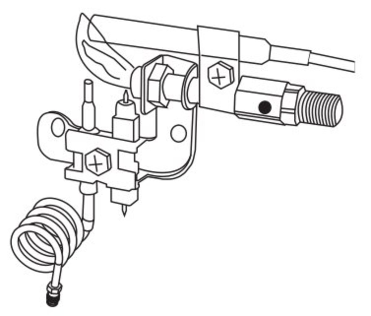 This shows a thermocouple in front of the pilot and a thermopile above the pilot for hot surface ignitions.  The thermocouple acts as ODS and the thermopile - many thermocouples in one - works with the remote ignition.
