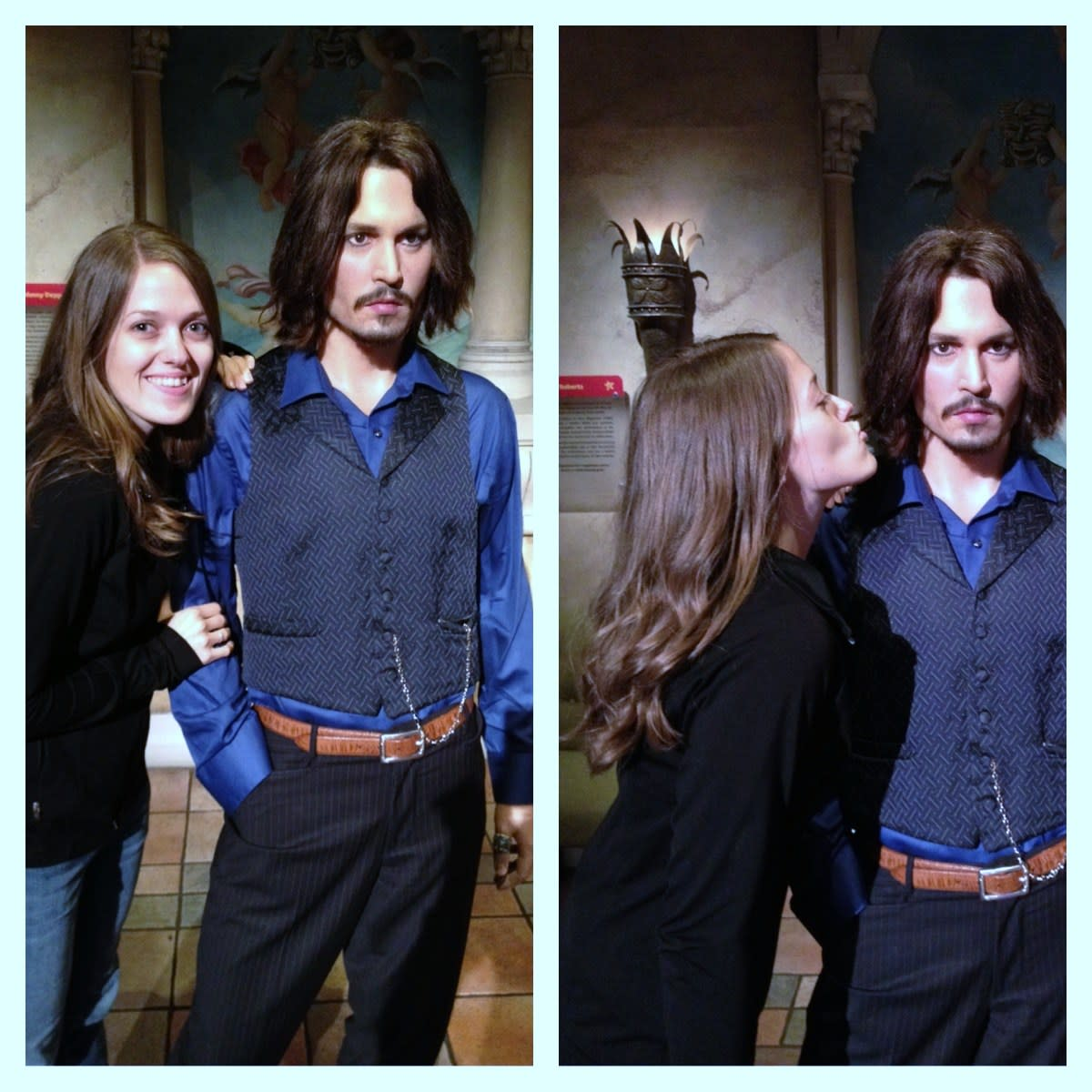 My daughter, Michelle Stoker, met Johnny Depp at the Wax Museum. She said he was a bit quiet. He didn't say much :)