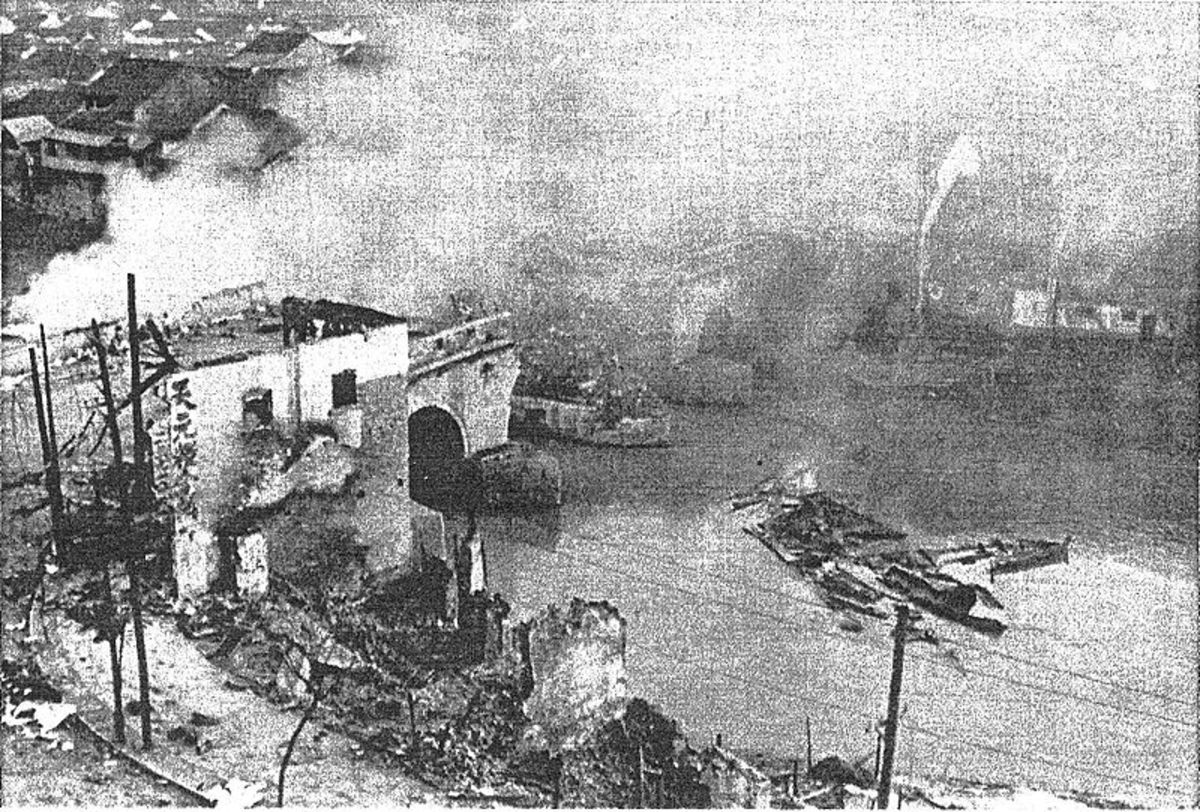 Nanking Bridge destroyed by the Japanese