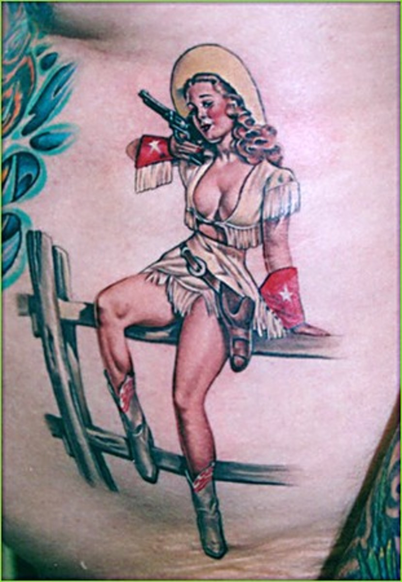 Pinup Cowgirl Tattoo