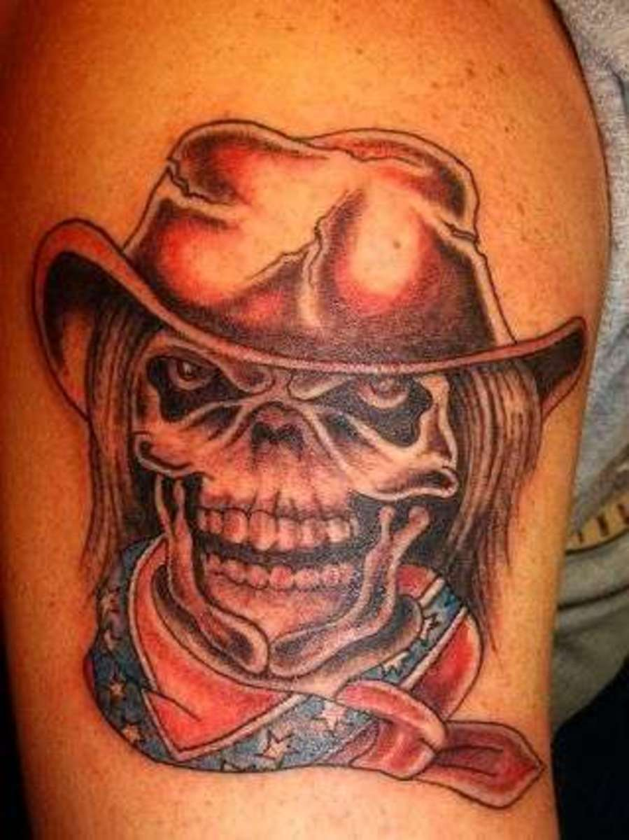 Skull With Cowboy Hat Tattoo Cowboy Tattoo Designs:...