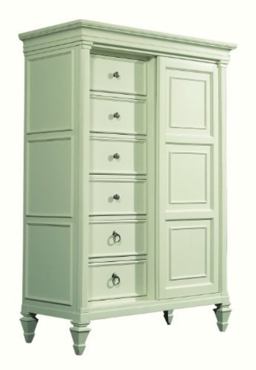 Paint finishes -especially in cool pastels are the perfect match for this look. It is light and breezy and easy care.