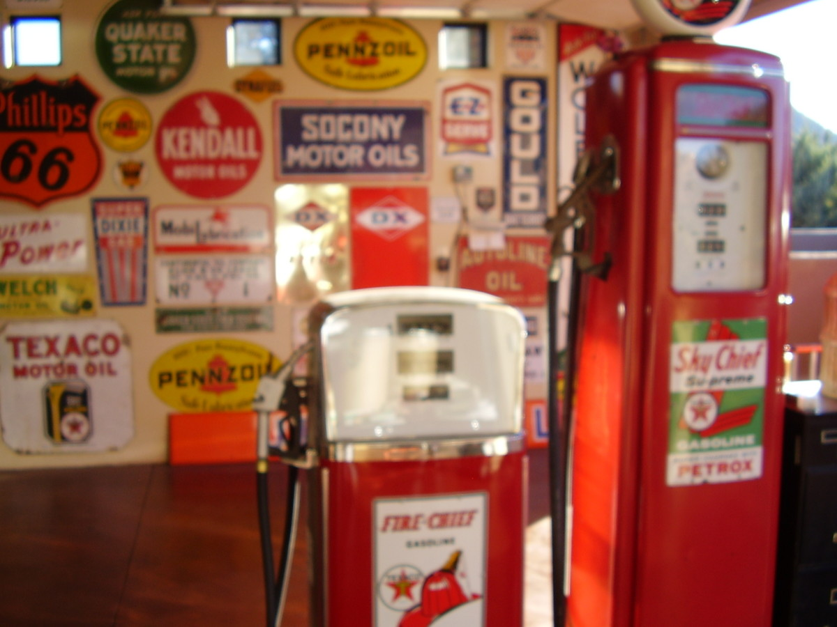 Gas Pumps and Advertising Signs the Perfect Garage or Man Cave Art