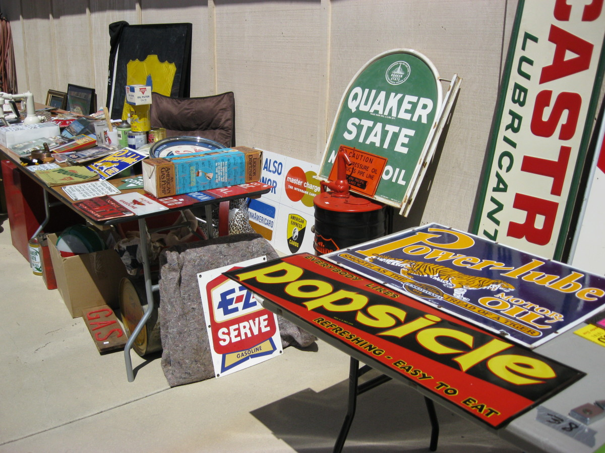 Gas Advertising signs for sale at Roy Reeds Gas Bash Fontana California