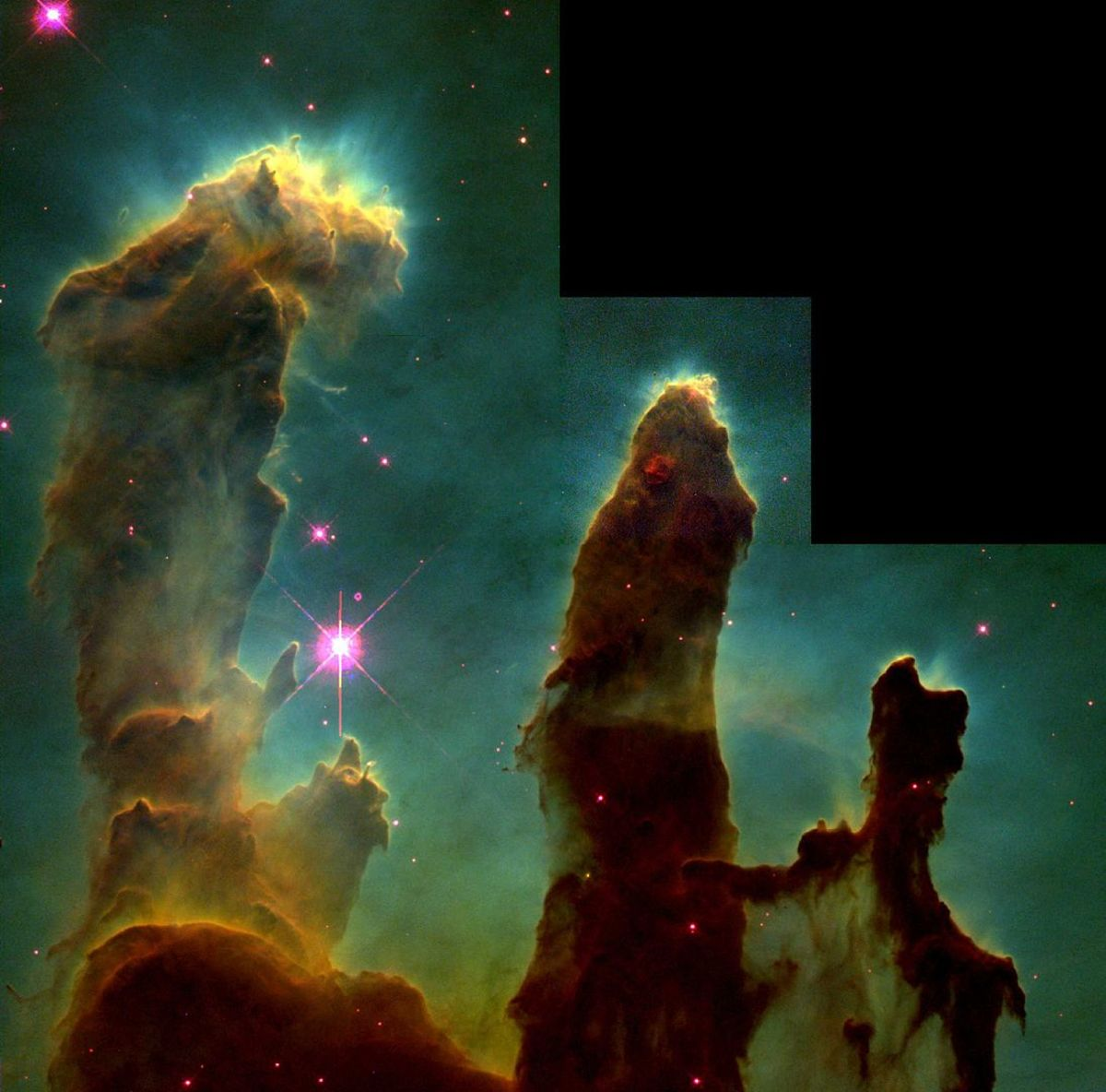 The Pillars of Creation, elephant-looking trunks of interstellar gas and dust, are part of the Eagle Nebula.