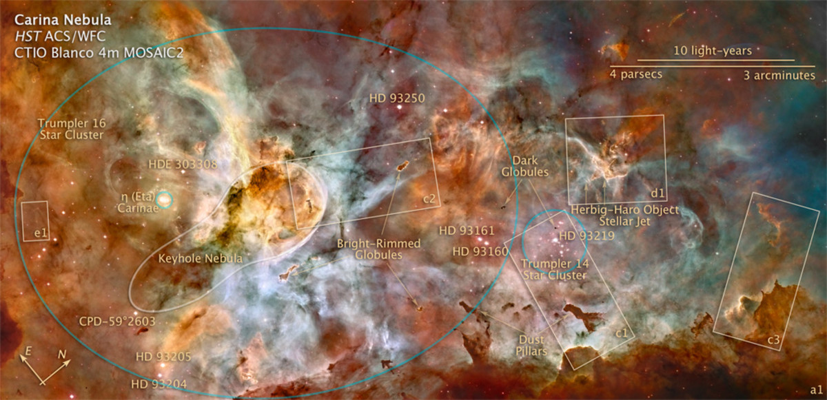 This annotated map of the Carina Nebula points out various parts of the nebula.