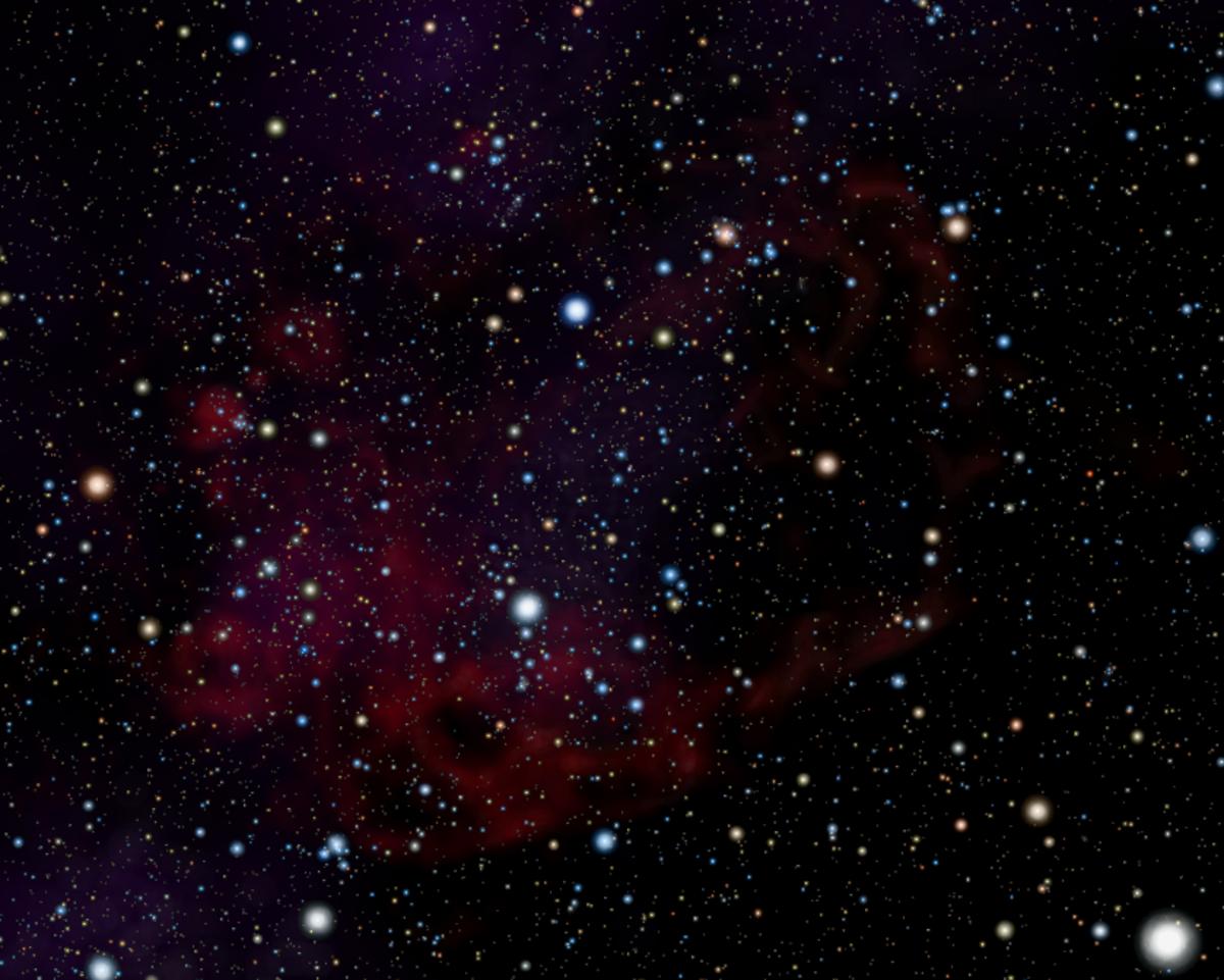 Image simulation of the Gum Nebula