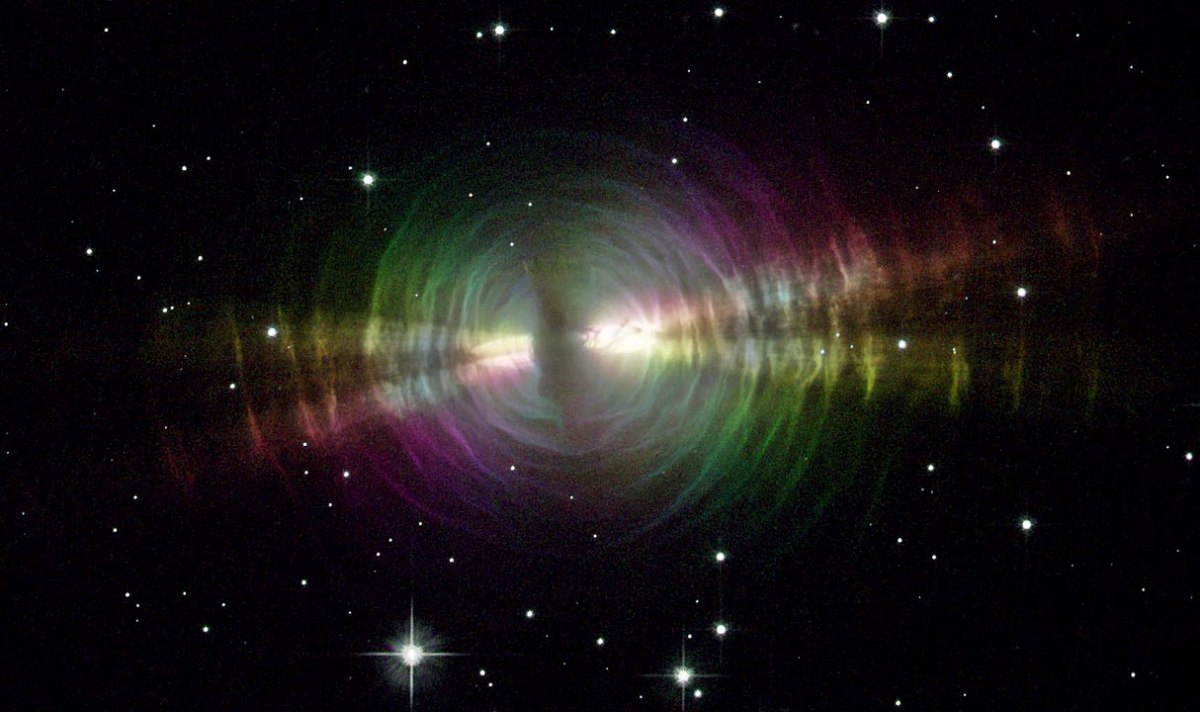 A different view of the Egg Nebula showing the circles or arcs of shed material that this nebula is famous for.