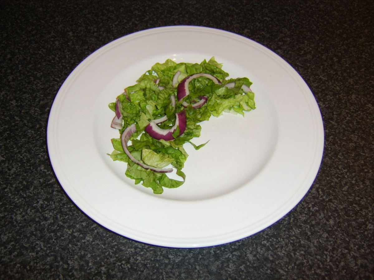 Simple salad bed for basa fillets