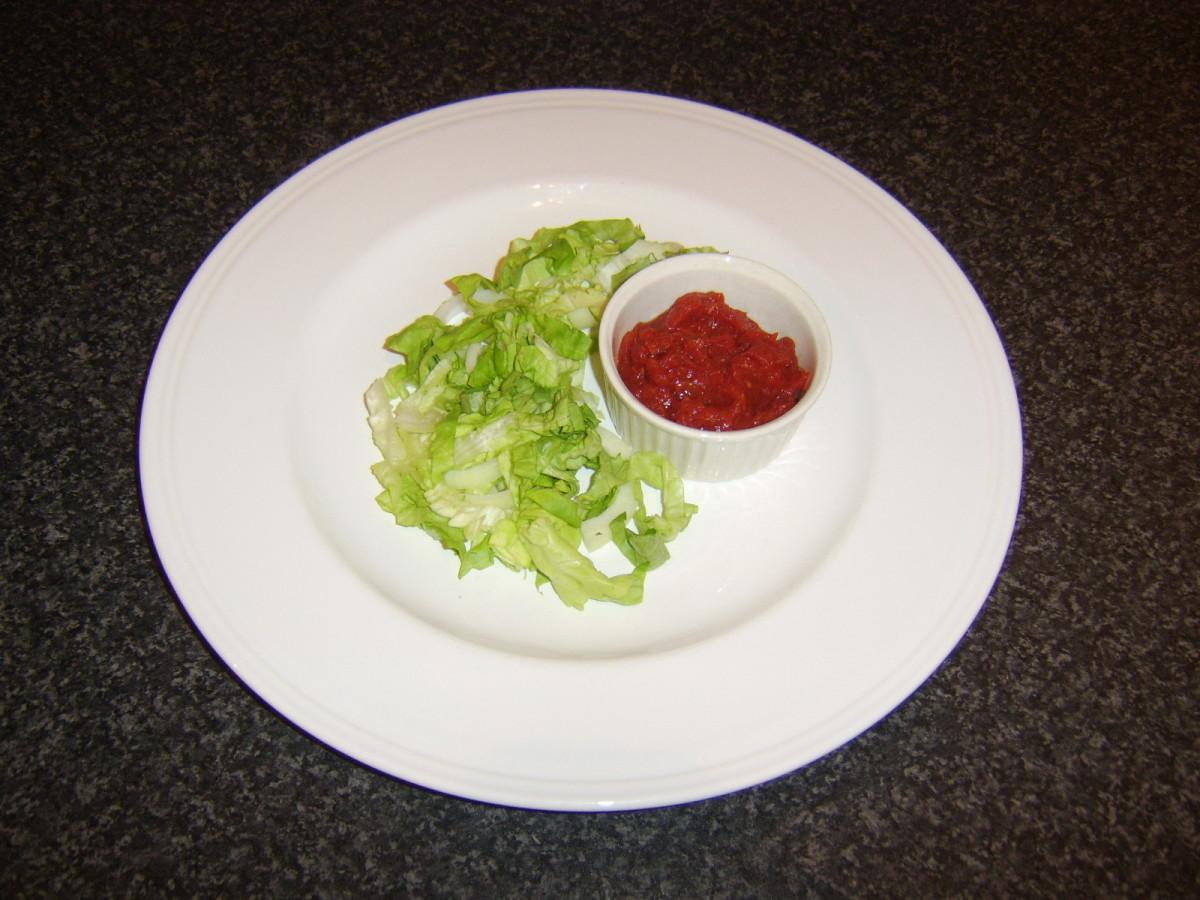 Salad and dip ready for basa fishcakes