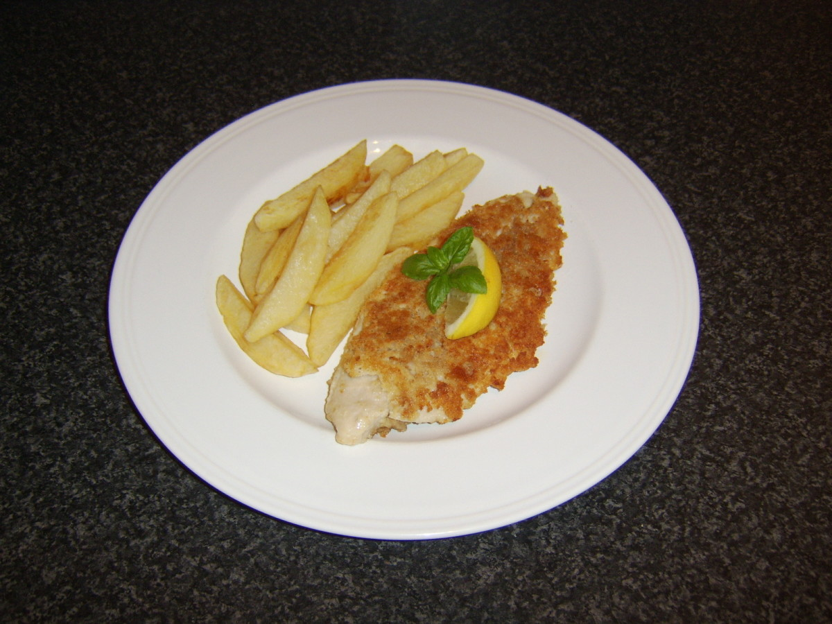 This basa fillet was coated in egg and breadcrumbs and shallow fried in oil