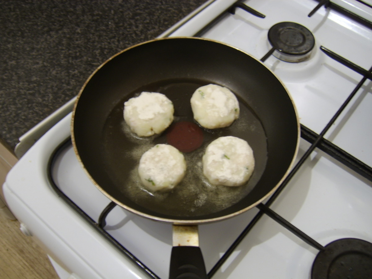 Pan frying the basa fishcakes