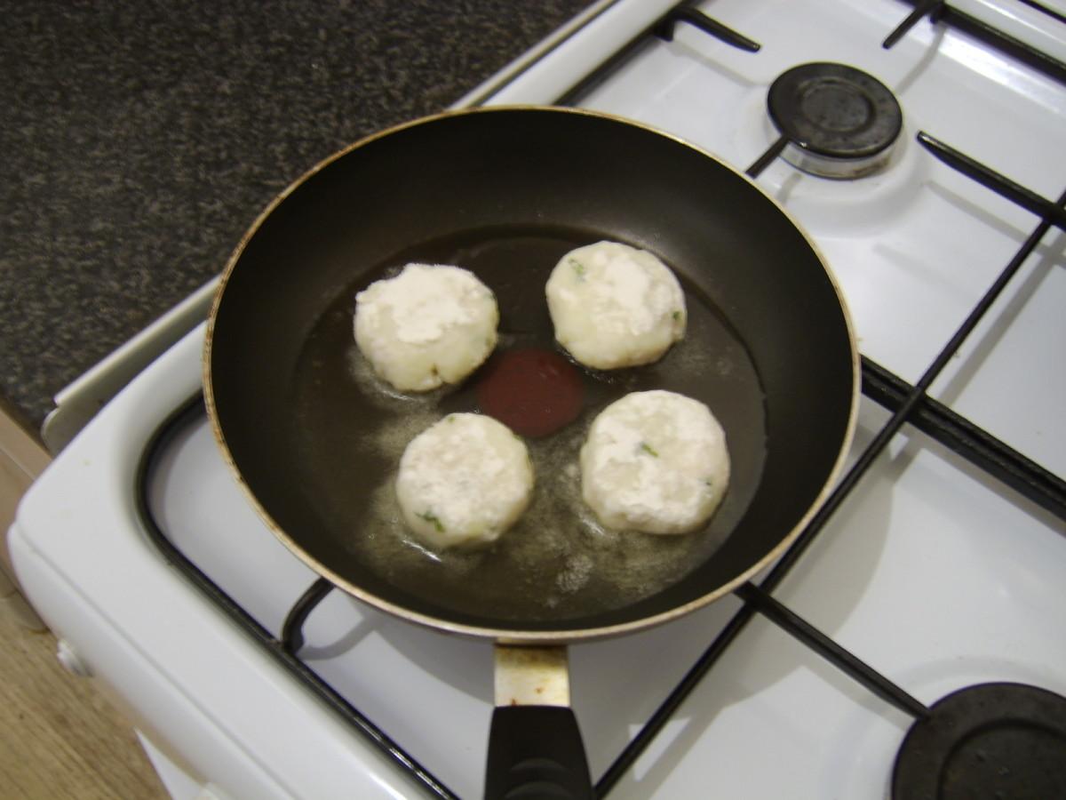 Pan frying the basa fishcakes