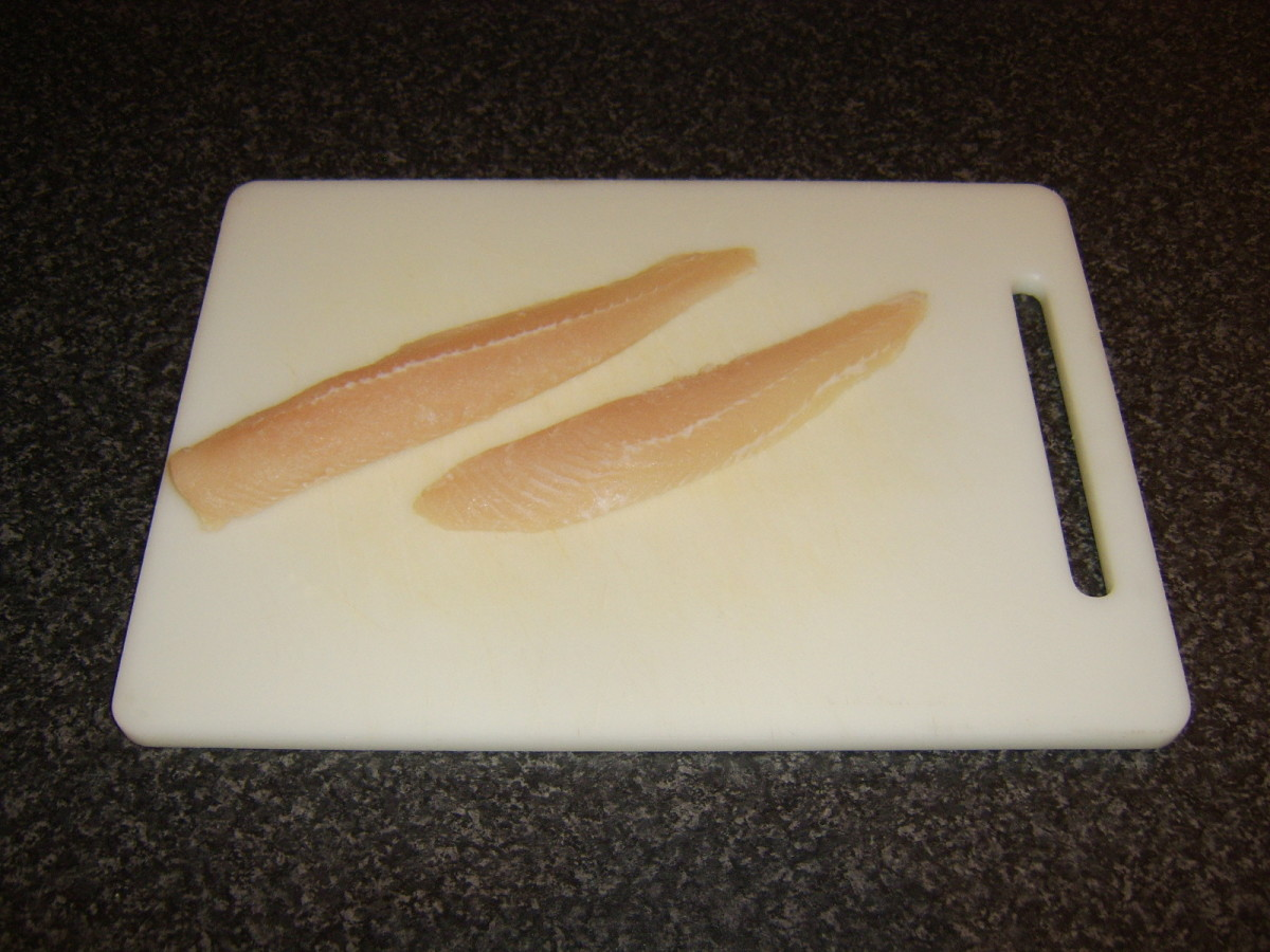 Basa fillet halved for deep frying