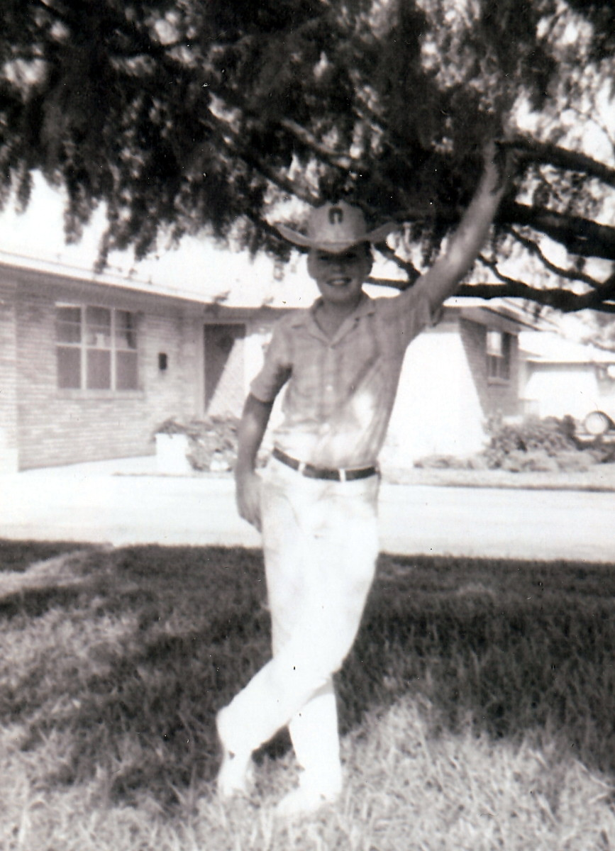 My brother Jim at our first home in McAllen, Texas