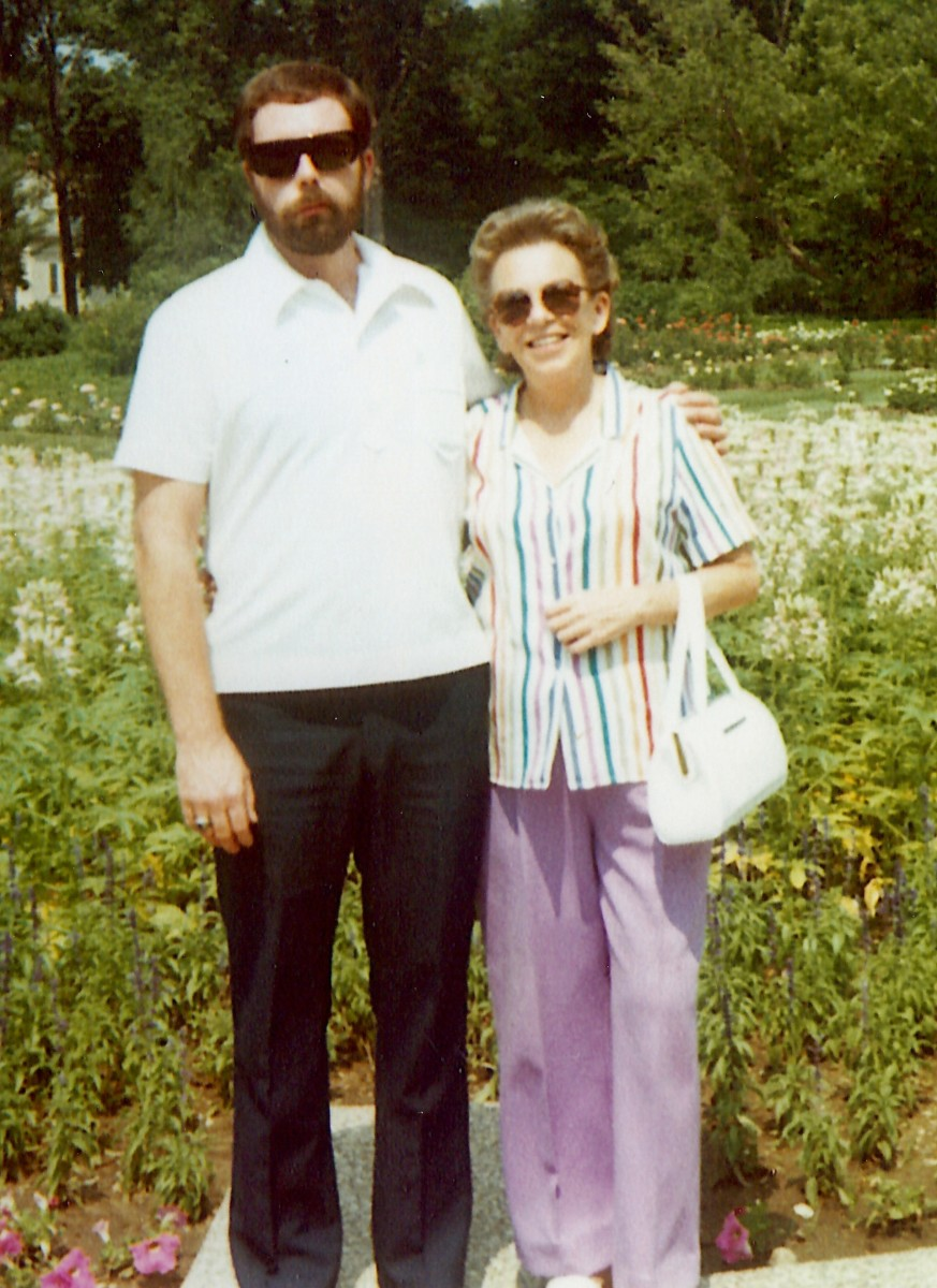 My brother and widowed mother on a trip up to Iowa to visit relatives some years after his accident.