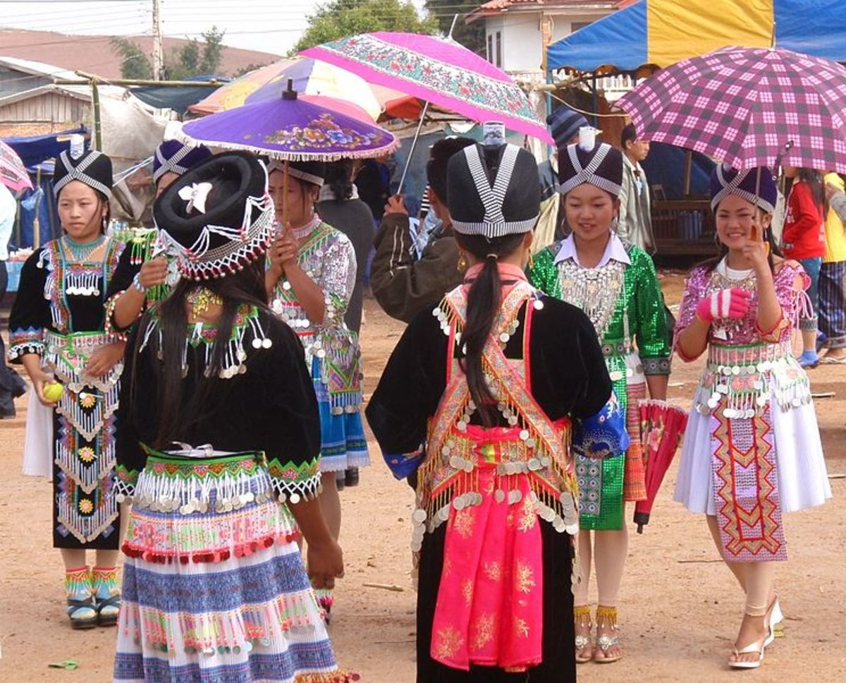 John Pavelka took this photograph in Laos of Hmong gorls celebrating the New Year with games.