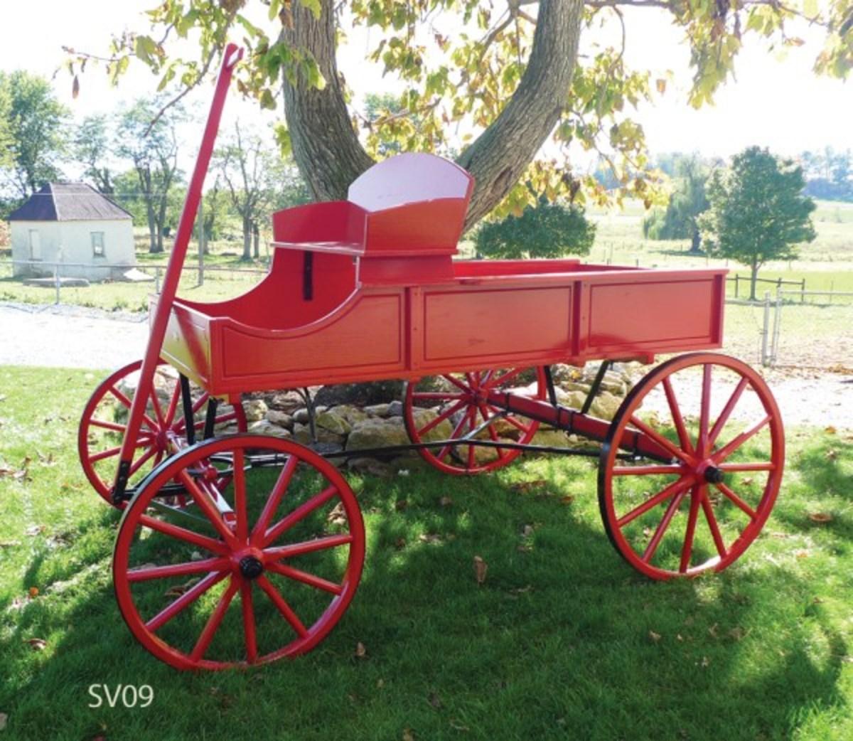 Red Buckboard Wagon