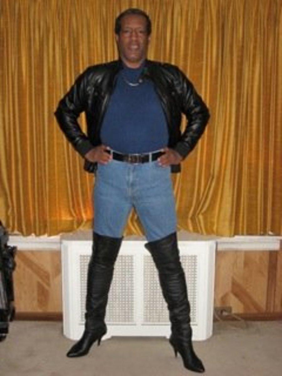 JeffB wearing high heeled boots.