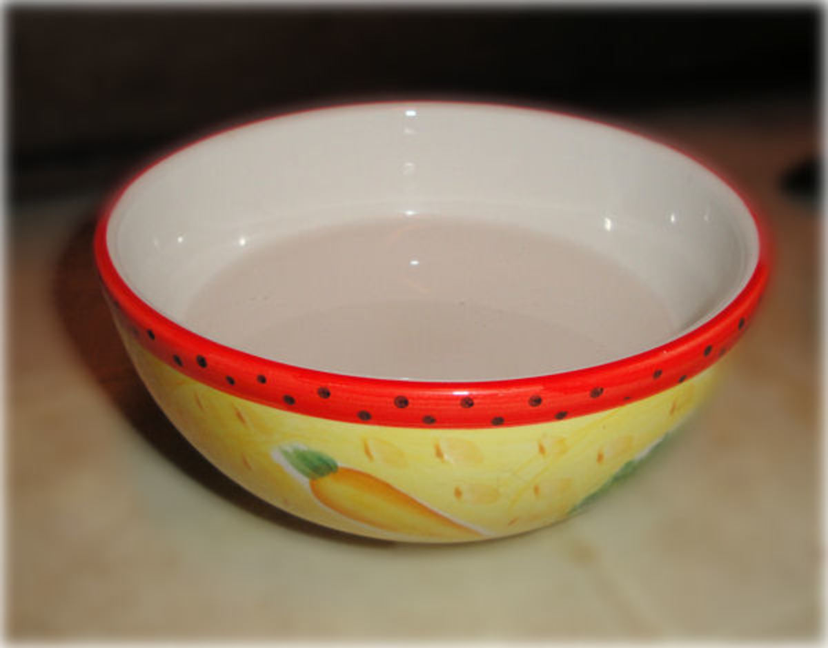 This is a standard ceramic bowl, the type that you can buy individually or with a set of dishes. These look really pretty but are easily tipped.