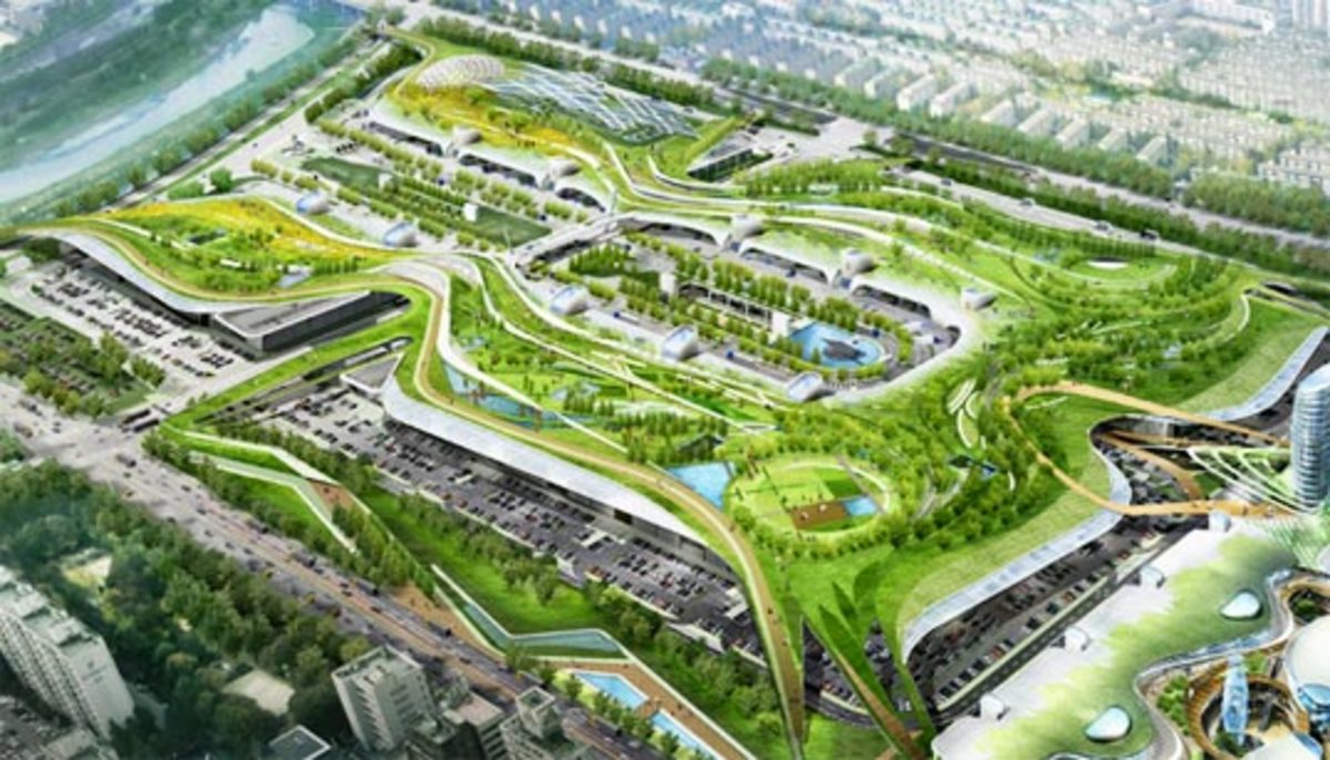 proposed green dome in Seoul Korea - 131 acres of the perfect marriage of urban plus green