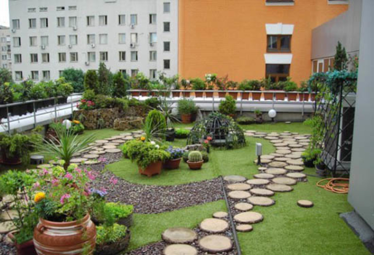 Beautiful garden on a roof top - green urban landscaping