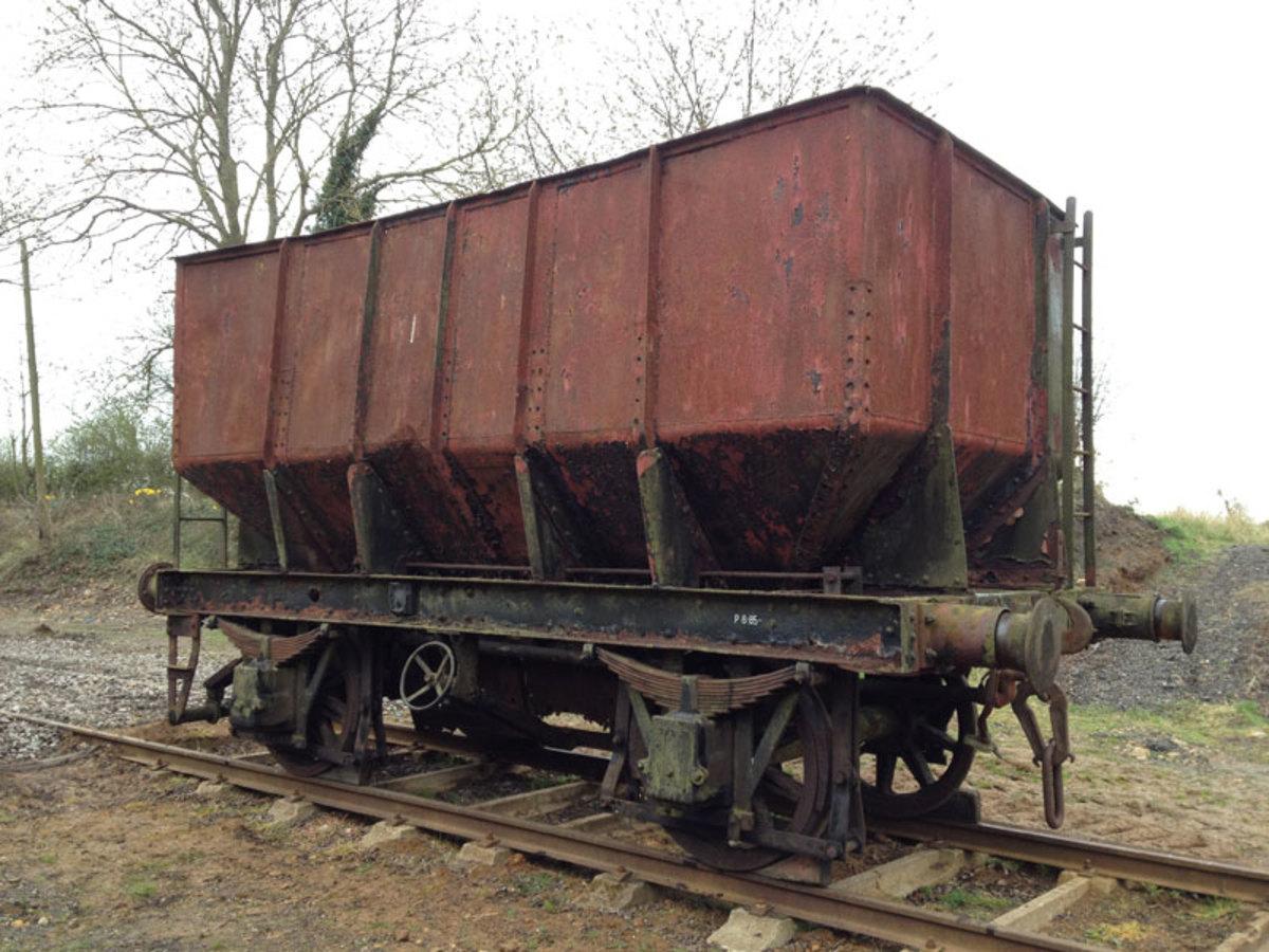 Ex LMS steel hopper wagon awaiting restoration at the NRM site, Shildon
