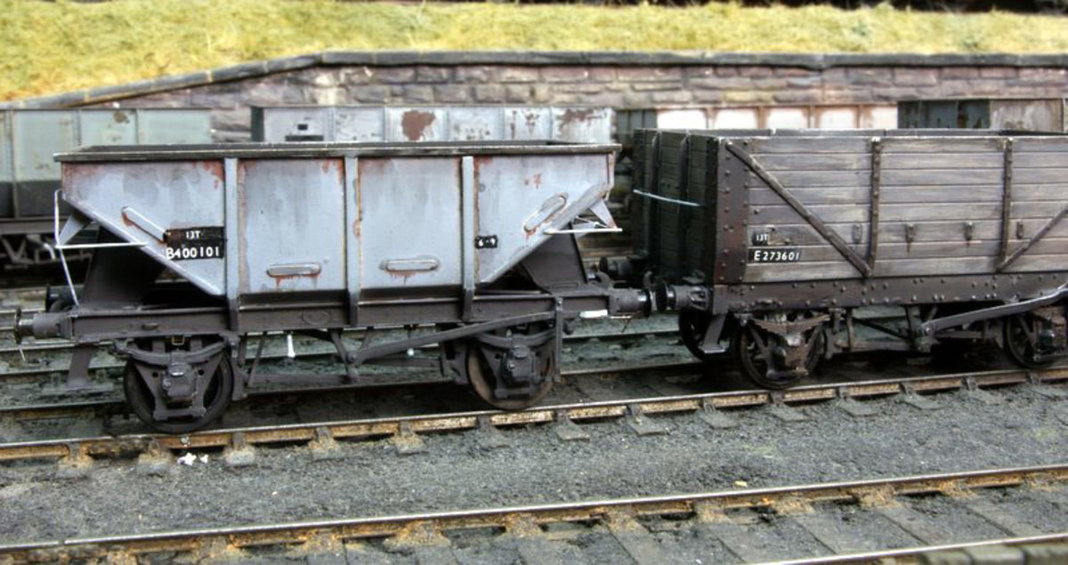 (Left) Dave Bradwell 22 ton ironstone hopper kit in BR livery - see below for a view of a real wagon
