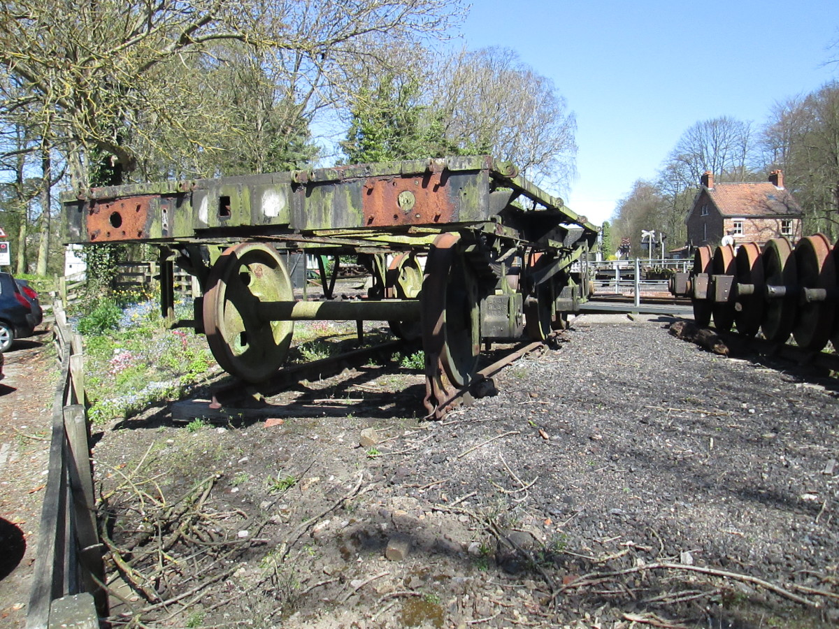 A wagon underframe awaits use by the turntable at Pickering on the North Yorkshire Moors Rly