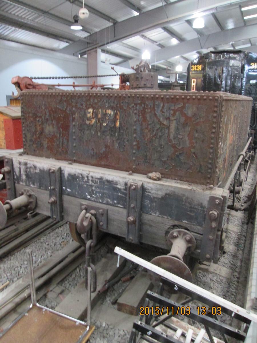 Tar wagon awaiting restoration work at the NRM's Locomotion workshop, Shildon