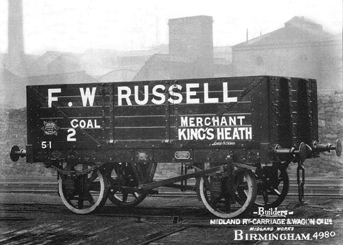 The Railway Clearing House (RCH) saw to the standardisation of private owner mineral wagons. Here we have a coal company vehicle owned by Russells of Kings Heath (B'ham), built by Midland Carriage & Wagon