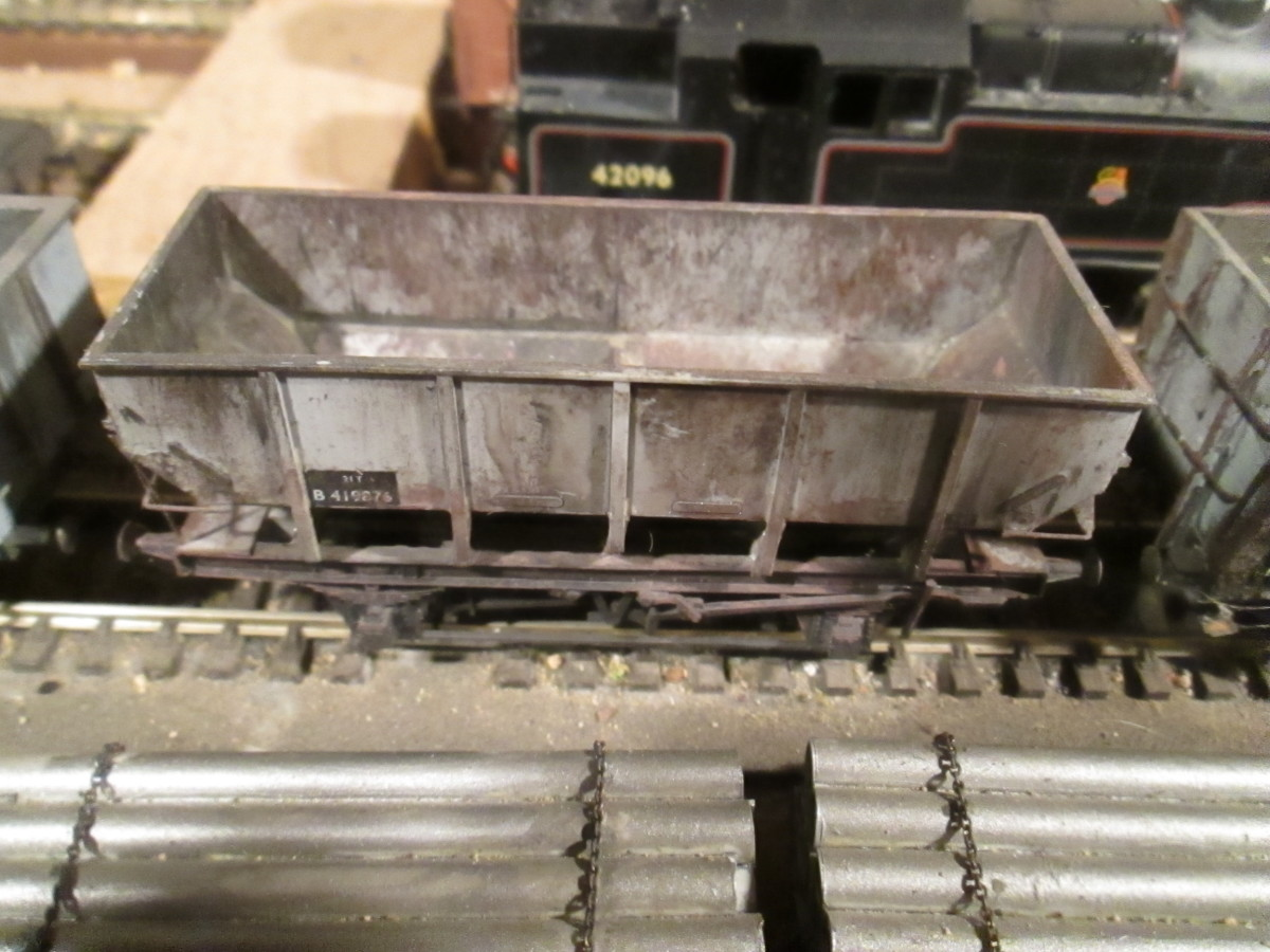 One of the Parkside British Railways' Dgm 1/146 21 ton steel hoppers on the Thoraldby layout (Shildon's finest)