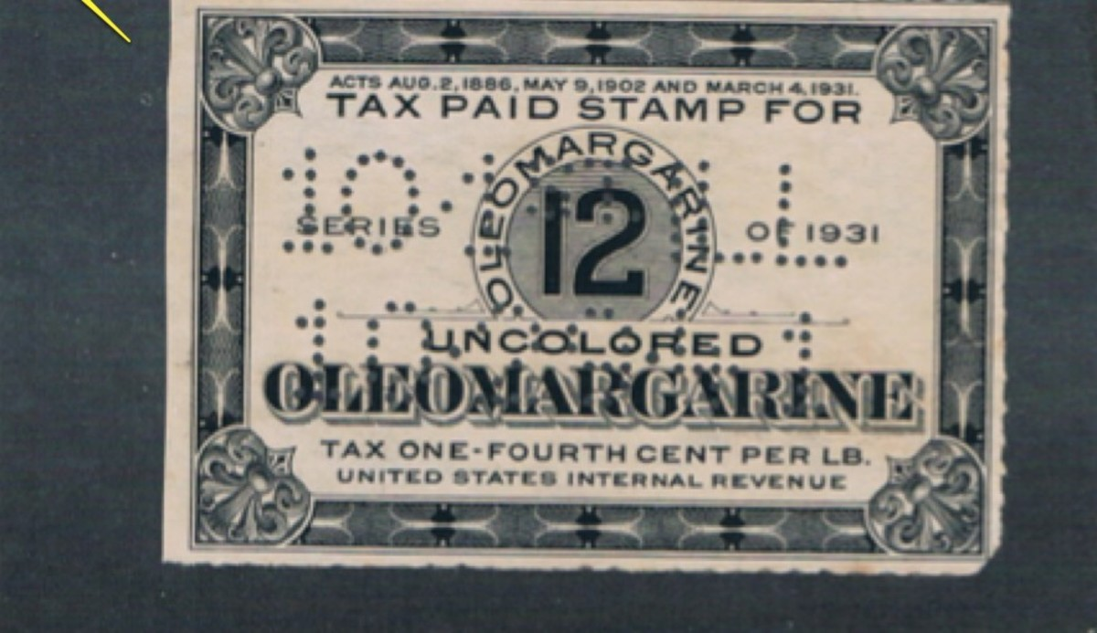 1/4 cent per pound for uncolored margarine - 12 pound perforated stamp