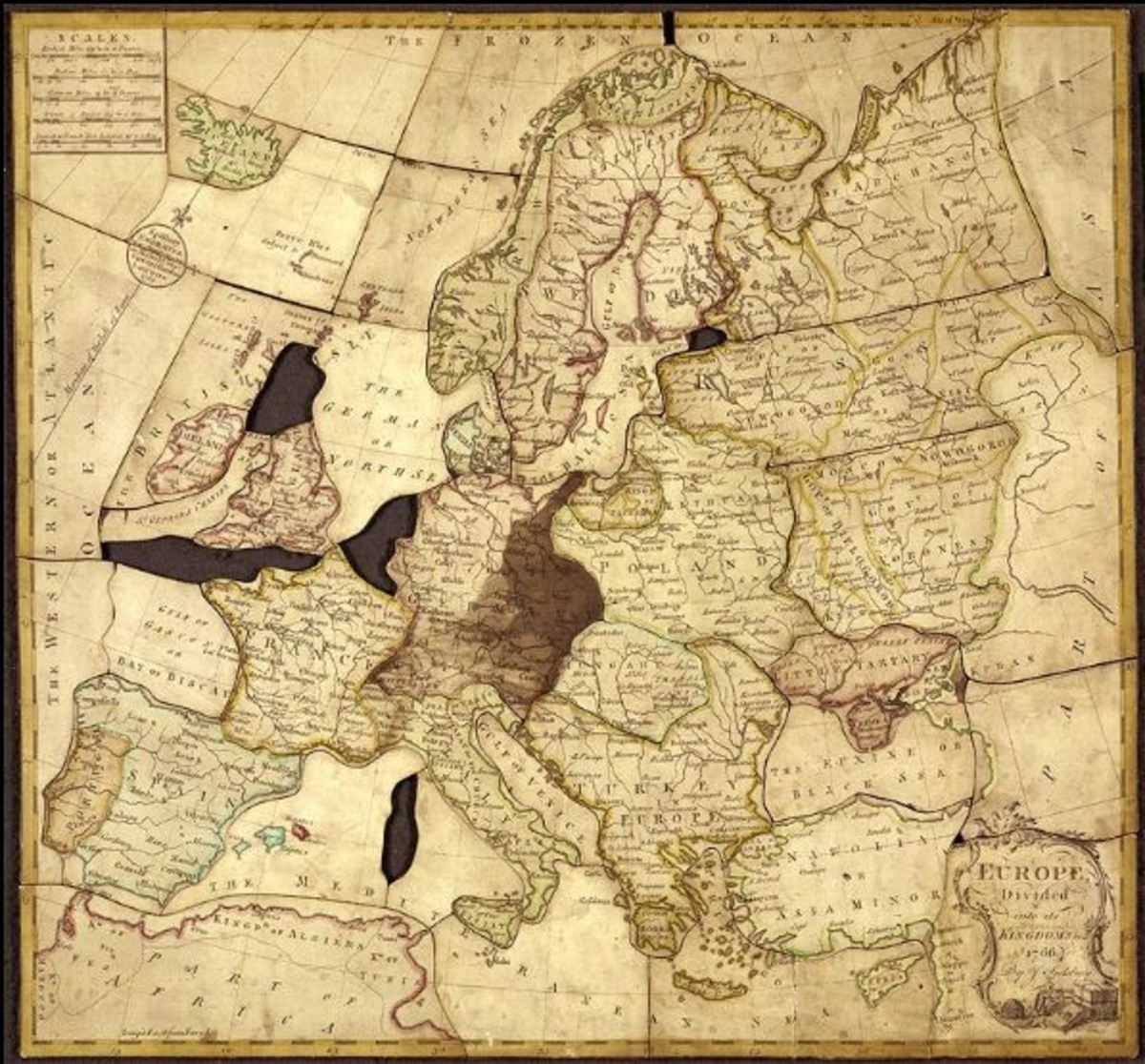 The first jigsaw puzzle was a map glued on wood and cut out by John Spilsbury in 1767