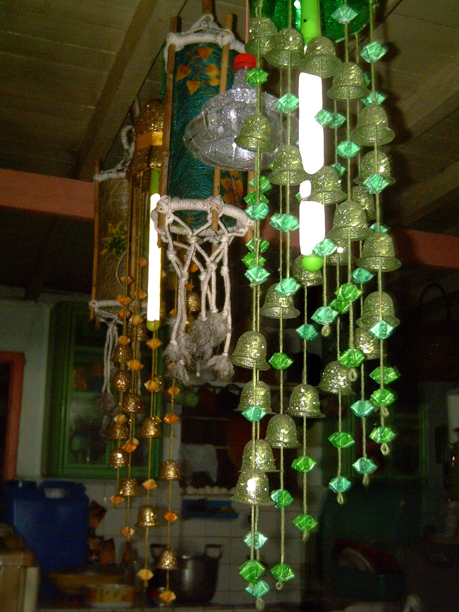 Chandeliers made from plastic straws and gelatin plastic molds (Photo by Travel Man)