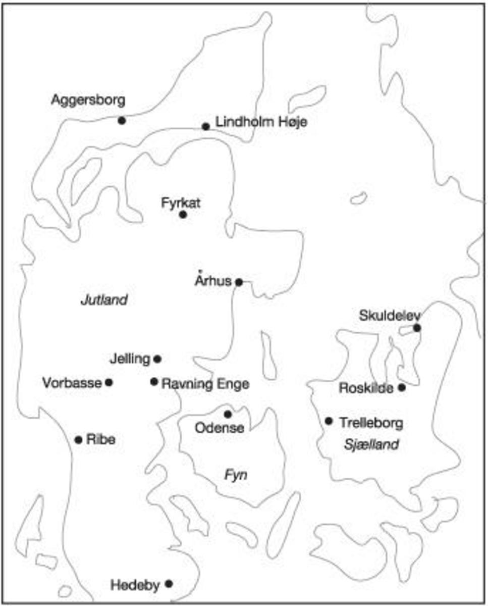 Kingdom of the Danes before Harald Gormsson ('Blue-tooth'), bordered on its south side by the pressing Frankish Empire, to the north-east by expanding Sweden and to the north-west by a growing nation-state that would become Norway.