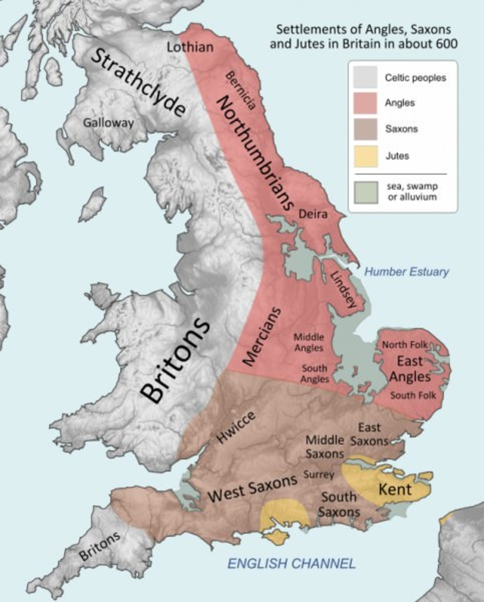 The settlement areas: the Jutes came first to 'police' southern Britain; the Aengle (Angles) entered the eastern rivers, the Humber, Ouse and Trent in the north, the Wash in the east; the Saxons settled the south and south-west