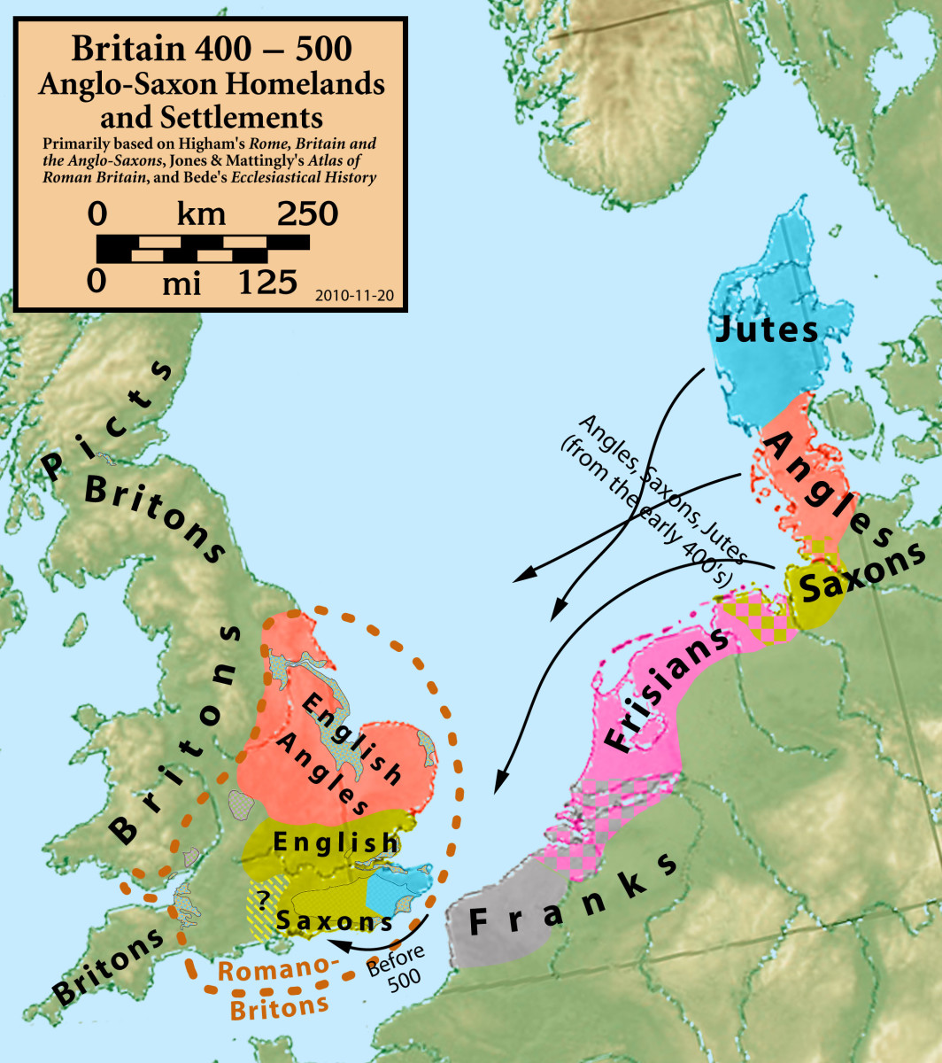 Migration from North-western Europe began soon after the Romans left in AD 425