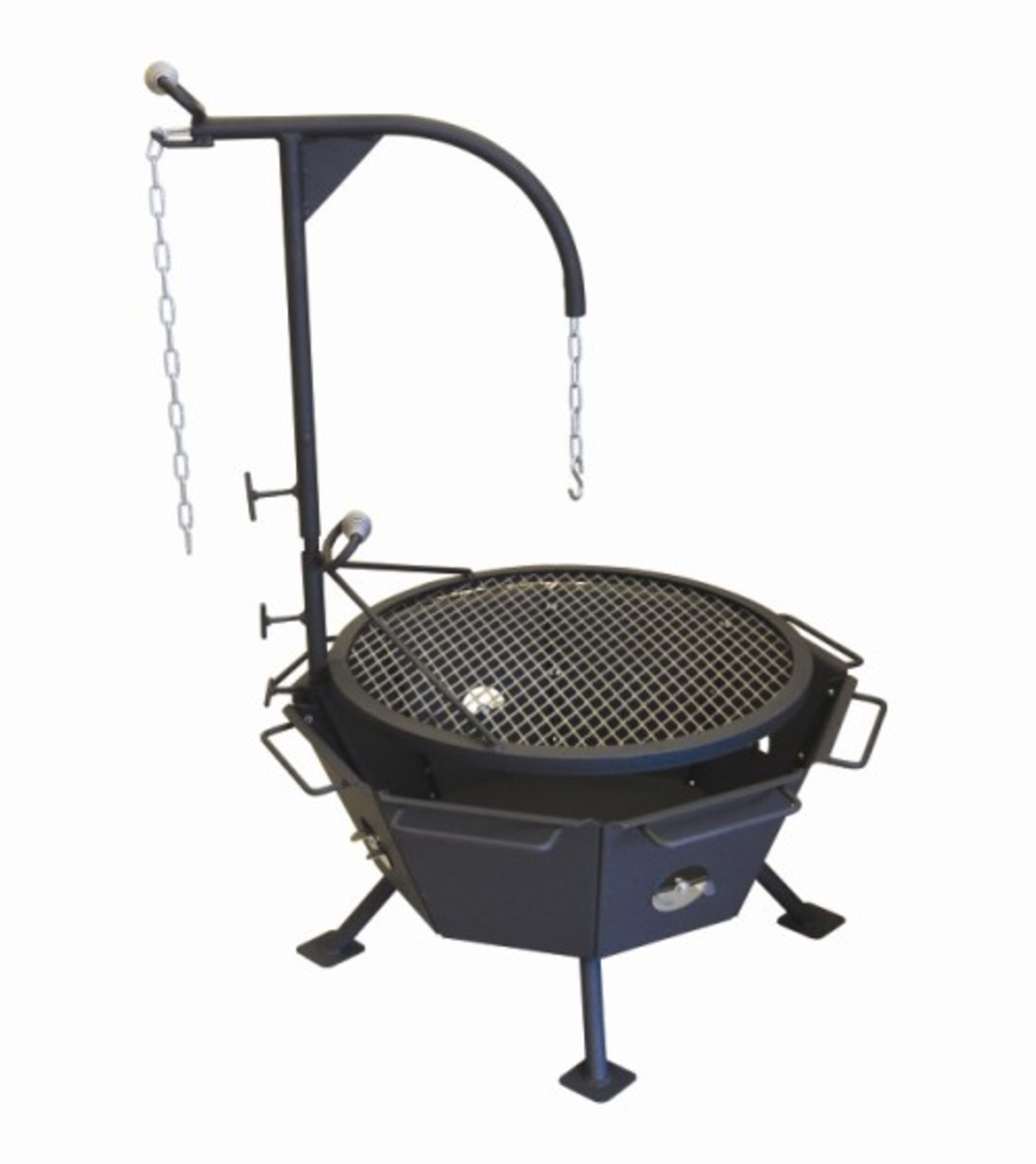Self contained out door fire pit with adjustable boom and grill from Cottage Craft Works.