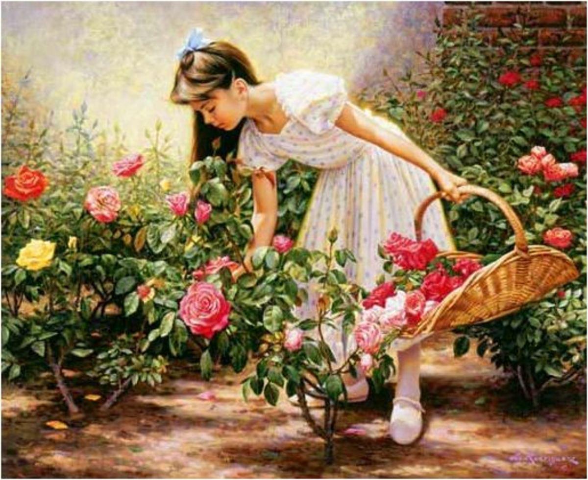 Little Girl In Rose Garden