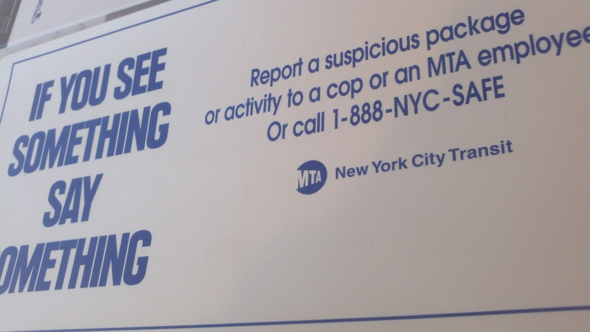 Image of a card from the See Something Say Something suspicious package or activity awareness campaign which began in late 2002 by the MTA (New York City Transit). The Department of Homeland Security took it national in 2010.
