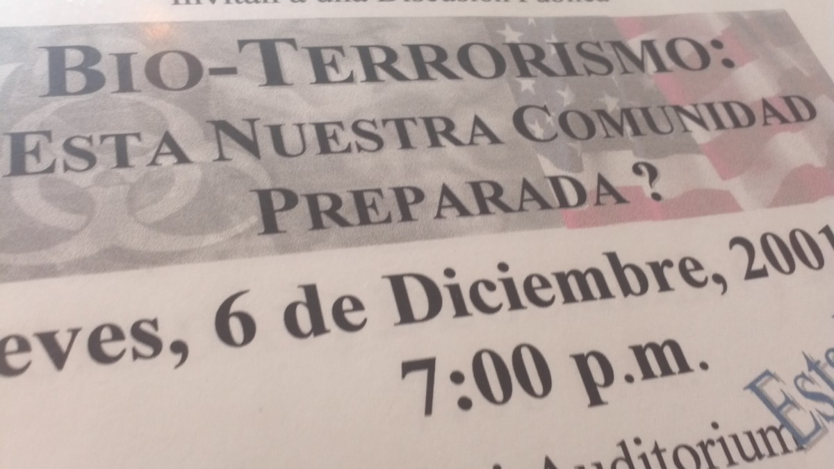 Flier I collected at another public town hall meeting, this time addressing terrorism after the anthrax attacks. It took place in Washington Heights at Columbia University Medical Center.