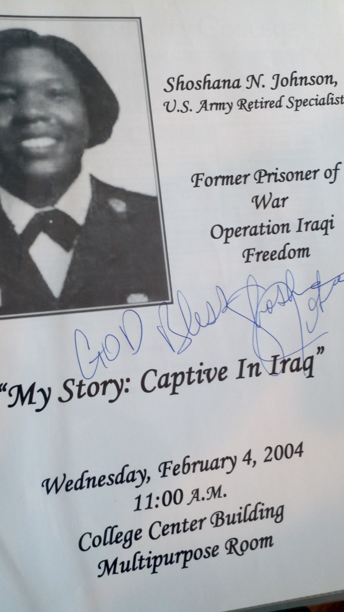 Also highlighted on the wall of the gallery, this flier was signed by former-Iraq POW Shoshana Johnson at her first public appearance. It took place at Nassau Community College.